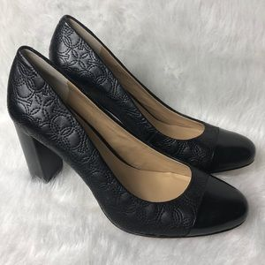 Ann Taylor quilted block heel pumps 10
